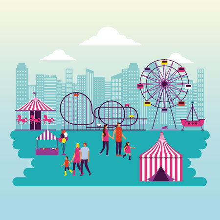 circus fair attractions outdoor cty park people funny vector illustration