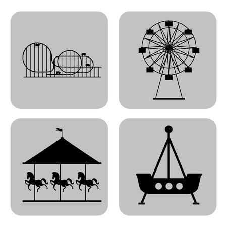 circus and fair banners carousel roller coaster ferris wheel trip vector illustration Ilustracja