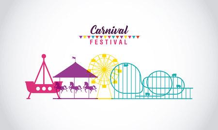 carnival festival pennants trip roller coaster carousel vector illustration