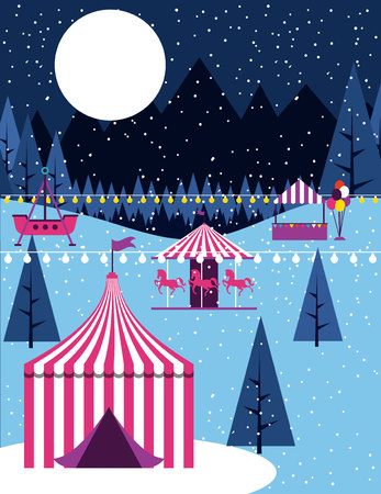circus fair winter snow booths carousel vector illustration