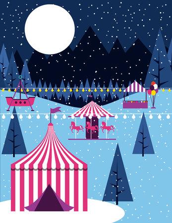 circus fair winter snow booths carousel vector illustration