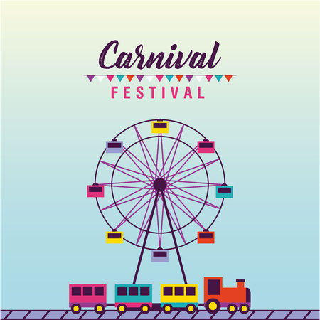 carnival festival pennants ferris wheel train vector illustration Illustration