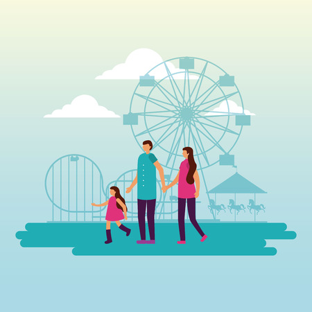 circus and fair attractions family enjoy vector illustration 일러스트