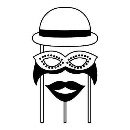 accessories of carnival celebration in stick vector illustration design