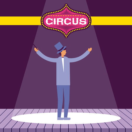 circus fun magician man performer stage show time vector illustration