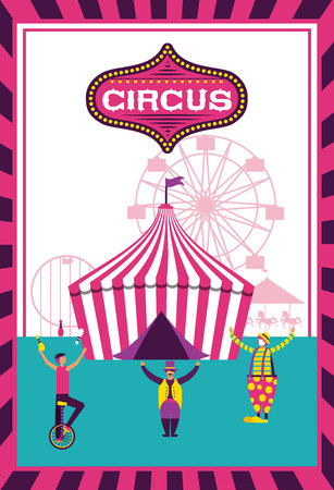 circus fun frame tent ferris wheel acrobats vector illustration