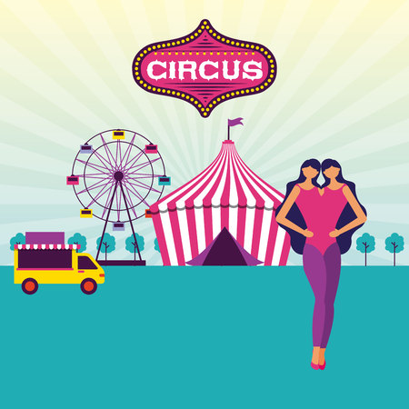 circus fun food truck unitted twins tent vector illustration