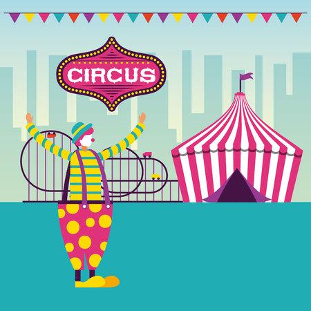 circus fun pennants clown roller coaster vector illustration