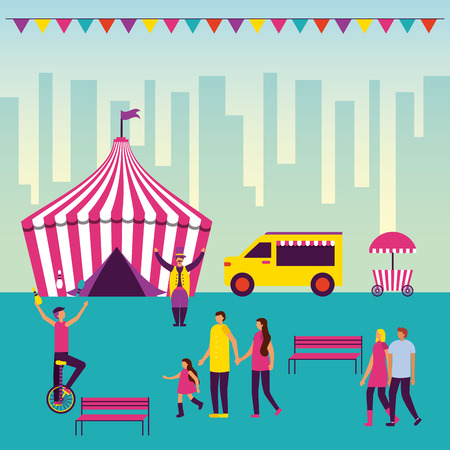 circus fun city outdoor pennants tent acrobats vector illustration Illustration