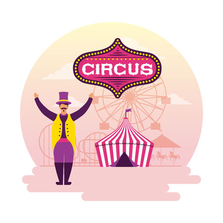 circus fun sticker tent host character wearig hat vector illustration Illustration