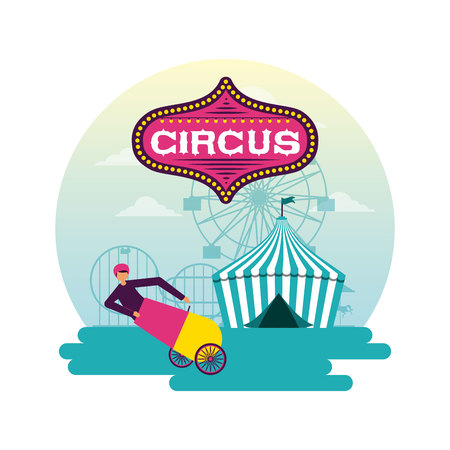 circus fun sticker tent cannonball man vector illustration