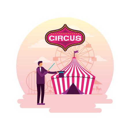 circus fun tent sticker ferris wheel vector illustration Stock Illustratie