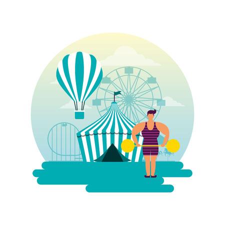 circus fun sticker tent hot air balloon strong man vector illustration