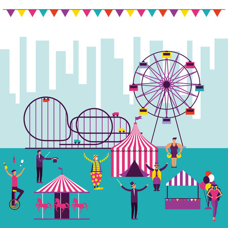 circus fun city outdoor tent ferris wheel attractions vector illustration