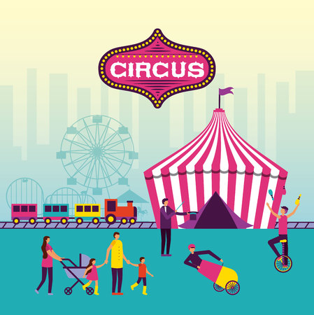 circus fun tent train attractions acrobast vector illustration