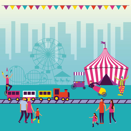 circus fun fair acrobatics pennants city tent train people enjoy vector illustration