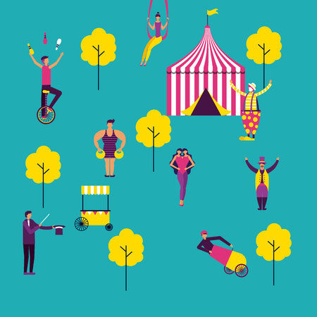 circus tent park acrobatics acrobats vector illustration 스톡 콘텐츠 - 112788378