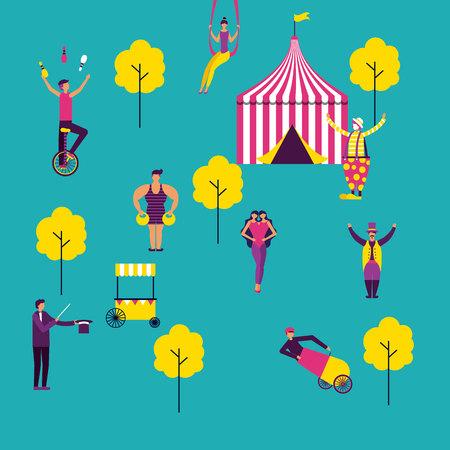 circus tent park acrobatics acrobats vector illustration Çizim