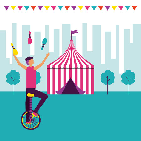 acrobat man riding unicycle circus fun fair vector illustration 스톡 콘텐츠 - 112790235
