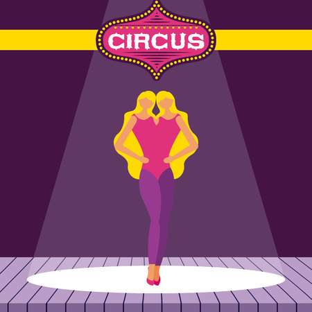 circus fun unitted twins stage presentation vector illustration