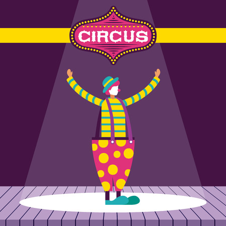 circus fun clown presentation stage vector illustration