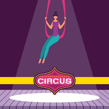 circus fun acrobat woman stage vector illustration