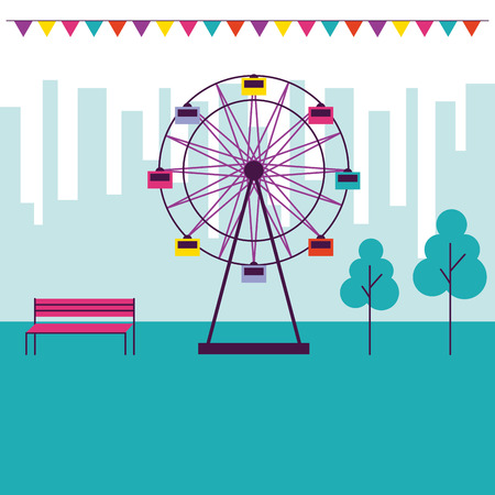 circus and fair ferris wheel pennants city park vector ilustration Ilustracja