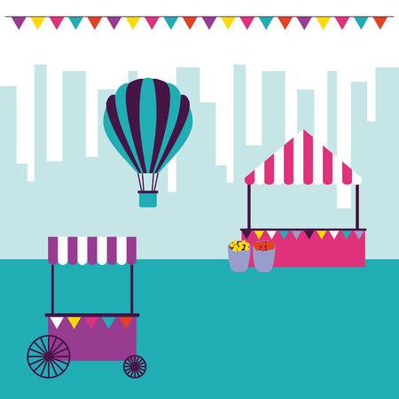 circus and fair city park hot air balloon booth vector illustration
