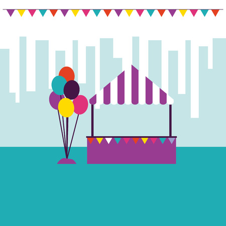 circus and fair balloons city park vector illustration