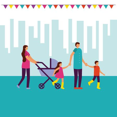 family outdoor walking city park vector ilustration Ilustração