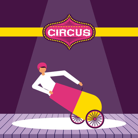 circus fun cannonball man presentation stage vector illustration Illustration