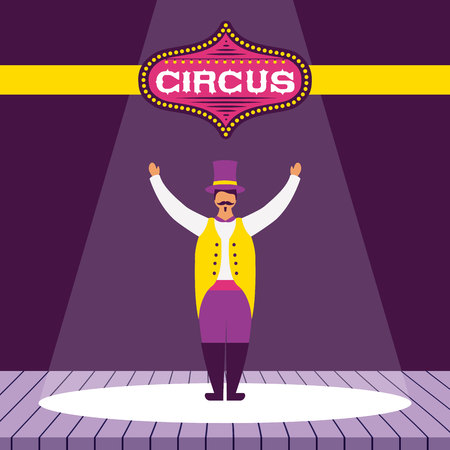 circus fun host character wearig hat presentation vector illustration