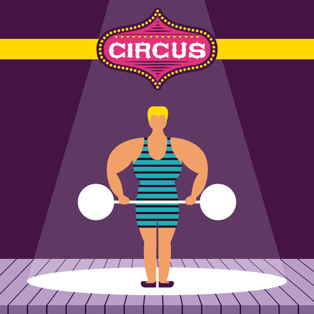 circus fun show time strong man vector illustration