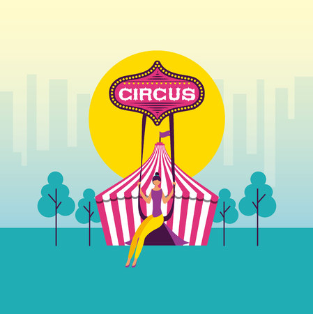 circus fun tent acrobat woman vector illustration Ilustrace