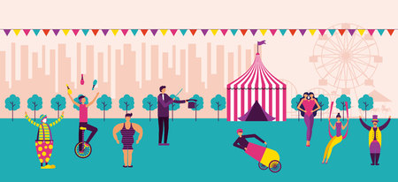 circus fun fair pennants park acrobats city vector illustration