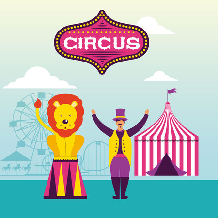 circus lion animal tent acrobat vector illustration Ilustrace