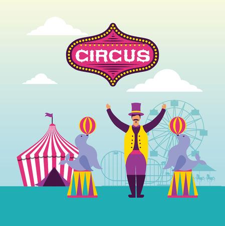 circus fun fair seals balls acrobat tent vector illustration Ilustração