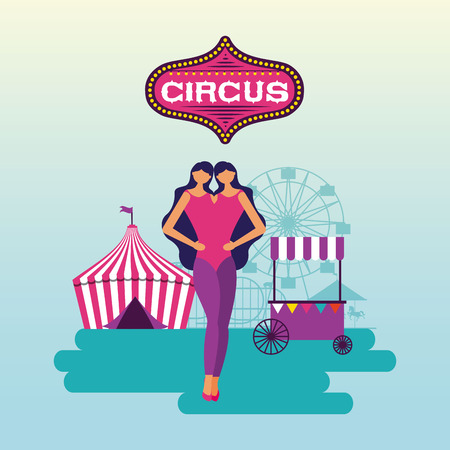 circus unitted twins tent booth vector illustration