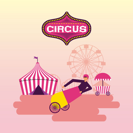 circus tent acrobat cannon  ferris wheel vector illustration