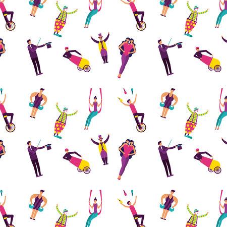 circus acrobats unitted twins doing acrobatics vector illustraiton