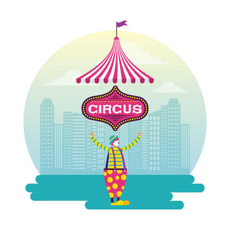 circus sticker city clown juggler vector illustration 스톡 콘텐츠 - 127273723