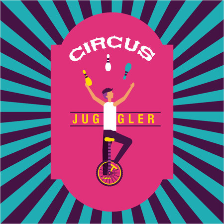 circus juggler man unicycle stripes background vector illustration