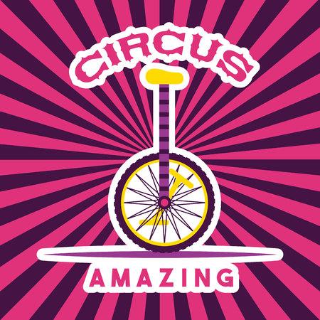 circus unicycle amazing stripes background vector illustration