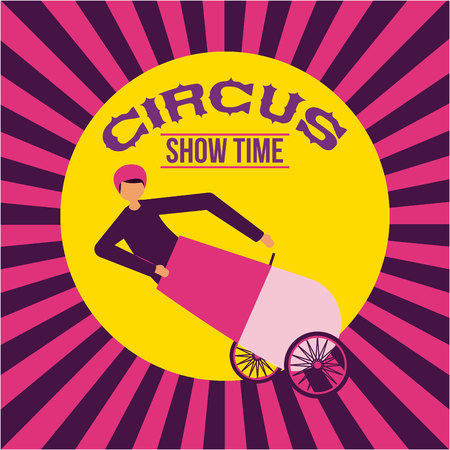circus sticker cannonball acrobat show time vector illustration Illustration