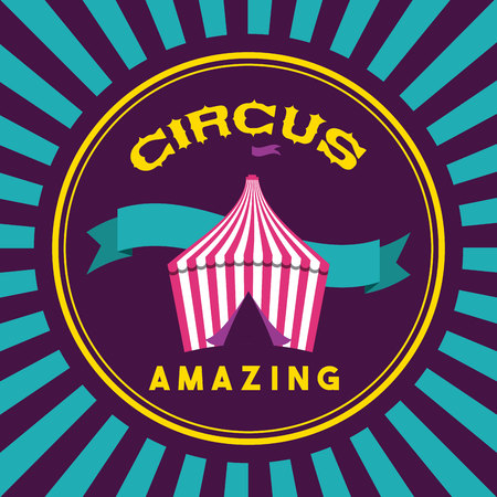 circus tent ribbons amazing sticker vector illustration