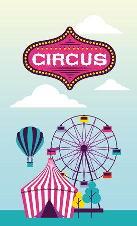 circus ferris wheel hot air balloon outdoor vector illustration