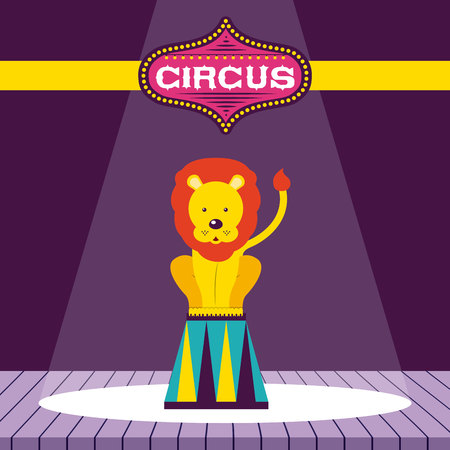 circus lion acrobat show time vector illustration Ilustrace