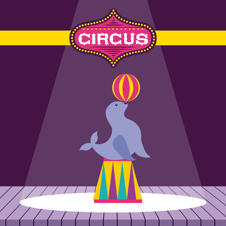 circus seal ball acrobat show time vector illustration