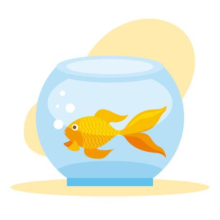 goldfish in glass bowl pet shop vector illustration