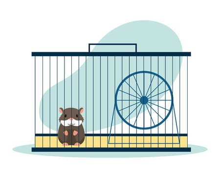 pet shop hamster on cage with wheel vector illustration Standard-Bild - 112788823